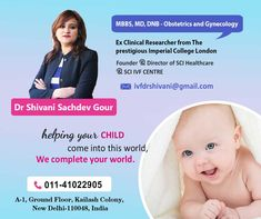 Get OFF up to on your Booking through us at Dr Shivani Sachdev Gour clinic. She is an IVF Specialist that has more than of experience. Art Fertility, Fertility Center, Imperial College, Obstetrics And Gynaecology, Infertility Treatment, Thing 1, Female Doctor, Doctor In, Genetics