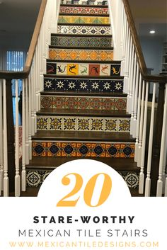 Gorgeous inspiration using Mexican tile on stairs. Discover your favorite tiles at www.MexicanTileDesigns.com