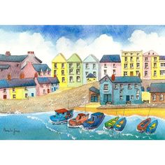 Framed Watercolour Print :: Tenby Harbour, Pembrokeshire, West Wales Listing in the Prints,Self-Representing Artists,Art Category on eBid United Kingdom | 155459127