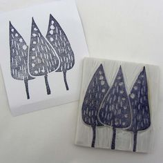 Hand carved forest stamp by robruhn on Etsy, $15.00