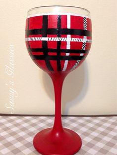 Tartan Plaid Wine Glass by SassysGlassies on Etsy