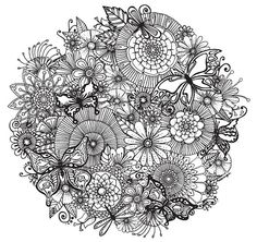FLORAL FLITTER ORB    An intricate and super duper detailed illustration. Hand drawn by myself, coloured by YOU!    Buy it • Print it • Colour