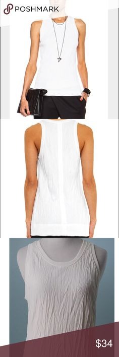 HELMUT LANG Crinkle White T-shirt Tank Top P XS Label-Helmut Lang Style- Crinkle Fabric Jersey Slightly cut in Arm holes, slight Aline shape, Tunic Top Tshirt Tank, a classy take on the tradition white undershirt Size-P It's an XS will fit 0 2 Color-Optic White  Fabric-50/50 Cotton, Poly Condition-Worn once, no issues Origin-USA Helmut Lang Tops Tank Tops