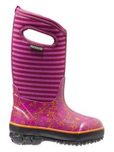 Bogs Kids' Insulated Boots Classic Flower Stripes Fuschia