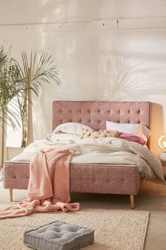 Maybe in grey?? Layla Upholstered Bed Frame | Urban Outfitters