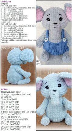 Crochet Elephant Pattern Free, Elephant Applique, Crochet Amigurumi Free Patterns, Crochet Animal Patterns, Stuffed Animal Patterns, Crochet Blanket Patterns, Free Crochet, Elephant Blanket, Double Crochet