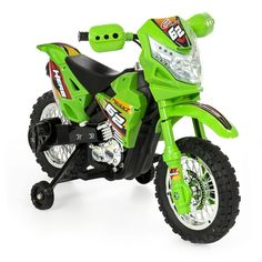 Best choice products kids electric battery-powered ride-on motorcycle dirt bike toy w/ max speed, training wheels, lights, music, charger - green Dirt Bike Toys, Dirt Bikes For Kids, Cool Dirt Bikes, Electric Bike For Kids, Electric Dirt Bike, Eletric Bike, Green Electric, Motorcycle Dirt Bike, Christmas Gifts For Boys