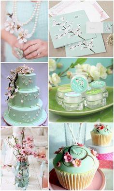 Mint Cherry Blossom Wedding Inspiration and wedding favors ideas from HotRef.com #cherryblossom