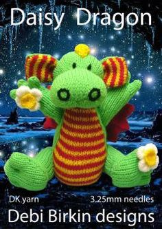 Daisy the baby Dragon pdf email toy knitting pattern by debi birkin - sold