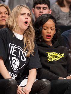 Rihanna personal street style candid 2014 fenty blackanna black hair x Cara Delevigne