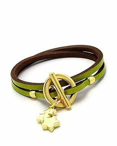 Quality Lime Green Genuine Leather Handcrafted Double Wrap Bracelet with Designer Gold Star Drops and Toggle Clasp in Gift Box Beautiful Silver Jewelry. $38.95. Arrives Ready For Gift Giving in Gift Box with Bow. Gold Toggle Closure With Two Gold Star Dangle Drops. Beautifully Styled Bracelet Fits 6 to 7.5 Inch Wrists. Quality Lime Green Leather Double Wrap Bracelet. Save 40%!