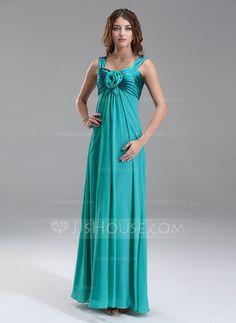Empire Sweetheart Floor-Length Chiffon Charmeuse Maternity Bridesmaid Dress With Ruffle Flower(s) (045022487) - JJsHouse