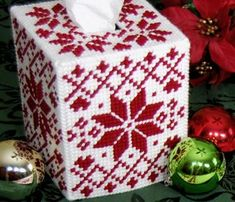 Plastic Canvas Nordic Redwork Tissue Box Cover
