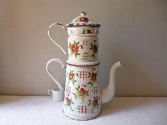 Français grand pot de café ancien émail pot - shabby chic belle français enamelware - cafetière émaillée - chalet romantique chic