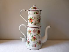 BIG french antique enamel coffee pot -shabby chic lovely french enamelware - Enamel coffee pot - romantic cottage chic