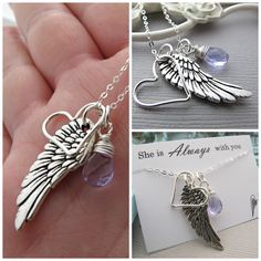 remembrance necklace Custom Heart Pendant Angel by vonmeyerjewelry, $29.50