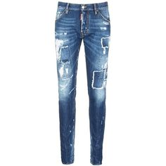 dsquared2 'Cool Guy' rip and repair jeans (76820 RSD) ❤ liked on Polyvore featuring men's fashion, men's clothing, men's jeans, blue, mens ripped jeans, mens blue jeans, mens distressed jeans, mens destroyed jeans and mens vintage jeans