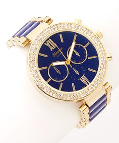 Blue & Gold Rhinestone Boyfriend Watch