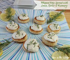 Whipped Feta Spread with Lemon, Garlic and Rosemary. Maybe not for a crowd (with the feta) but the fam would def appreciate Appetizer Salads, Yummy Appetizers, Appetizers For Party, Appetizer Recipes, Snack Recipes, Party Snacks, Cheese Recipes, Smoothie Recipes, Sauces