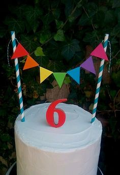 Rainbow cake bunting + matching wooden number. Cake garland, cake topper.