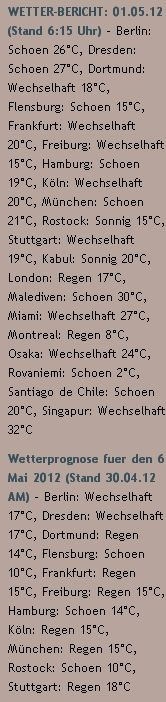 WETTER-BERICHT: 01.05.12 (Stand 6:15 Uhr) - http://www.schoeneswetter.com/wetterwuensche/wetter-2012/mai-2012/wetter-1-mai-2012.php