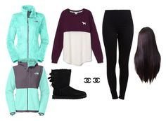 """Deshayla"" by aniyahg ❤ liked on Polyvore featuring Victoria's Secret, Pieces, UGG Australia and The North Face"