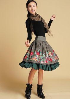 Linen knee skirt (370) - yanhuayue - Midi Skirts