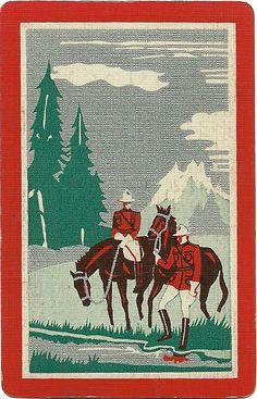 vintage playing card mounties by Millie Motts, via Flickr