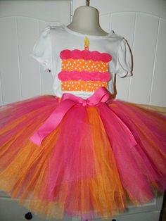 Girls Birthday Cake Applique Shirt and Tutu Outfit  Custom Colors  Orange Purple Pink Zebra sizes 6 7 8. $32.99, via Etsy.