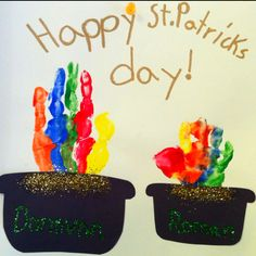 St. Patrick's Day craft - my sons' pots of gold rainbow handprints.The one I repinned is much cleaner. This was such a cute & quick seasonal craft.