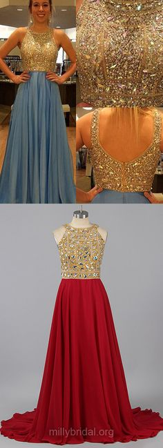 Blue Prom Dresses, Long Prom Dresses, Chiffon Formal Dresses, Sparkly Tulle Party Gowns, Beading A-line Evening Dresses
