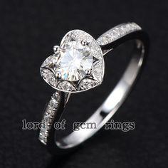 Moissanite con el anillo de compromiso de diamantes en oro blanco de 14K - Anillo Corazón Moissanite 5mm de forma redonda, venda de boda anillo nupcial Promesa