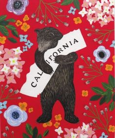 """""""I Love You California"""" Red Print by local artist Annie Galvin at 3 Fish Studios in San Francisco, California. Printed on-site with UltraChrome inks on Hot Press Bright paper. Archival, highest possible quality. Echo Park, 3 Fish, California Dreamin', Redlands California, Music Covers, Freundlich, Local Artists, Collage, Original Paintings"""
