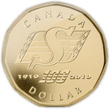 Royal Canadian Mint - a Canadian dollar commemorating 100 years of Saskatchewan Roughriders football: 2010 - It's out there. check your change! Canadian Dollar, Canadian Coins, Canadian Football League, Best Football Team, Go Rider, Saskatchewan Roughriders, Grey Cup, Saskatchewan Canada, Gold And Silver Coins