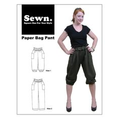 Paper Bag waist with elastic and pleats, optional patch side pockets.  Cropped with elastic or long, straight legs. This style hits at high waist.  Flattering and versatile. Shown on the pattern cover is the cropped  version.Also great as a long trouser with no elastic at the cuffs.  Sewn patterns run from an XXS to an XL (all sizes included in pattern)