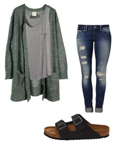 """cardigans are cute"" by futz on Polyvore featuring Mavi, Julie Fagerholt Heartmade and Birkenstock"
