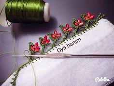 Bu örneğin yapılışına YouTube /oya hanım kanalımdan ulaşabilirsiniz. #oya #dantel#elemeği #tigoyalarim#basortu#şifon#crochet#hobi #crochet… Crochet Boarders, Crochet Lace Edging, Crochet Stitches Patterns, Baby Knitting Patterns, Needle Tatting Tutorial, Saree Kuchu Designs, Saree Tassels, Crochet Projects, Hand Embroidery