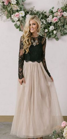 Black Lace Prom Dress,Two Pieces Long Sleeve Prom Dress,Custom Made Evening Dress,17176