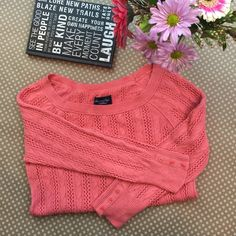 Coral Knit Sweater Loose knit to be able to layer with other shirts of any color. American Eagle Outfitters Sweaters