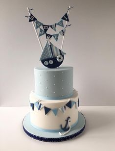 Blue, navy and white polka dot and striped nautical theme christening cake with . - Blue, navy and white polka dot and striped nautical theme christening cake with … - Torta Baby Shower, Baby Shower Cakes For Boys, Baby Boy Cakes, Baby Boy Shower, Baby Shower Nautical, Baby Boy Christening Cake, Boy Baptism, Nautical Cake, Nautical Theme