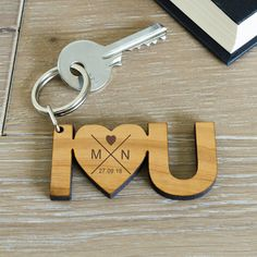 If you have somebody to love then let them know with this solid cherry wood I Love You key ring. The key ring is presented in an organza drawstring bag. How to personalise: You can personalise the key ring with a special date, and two initials. Valentine Day Gifts, Valentines, Wooden Keychain, Romantic Gifts For Her, Personalized Gifts For Her, Wooden Gifts For Her, Diy Schmuck, Key Rings, Boyfriend Gifts