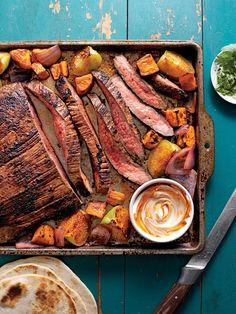 Ancho-Chile Flank Steak and Sweet Potato Tacos Flank Steak Tacos, Flank Steak Recipes, Beef Recipes, Cooking Recipes, Easy Recipes, Steak Ideas, Grilled Recipes, Steak Fajitas, Cooking 101