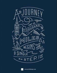 A journey of a thousand miles begins with a single step. Hand Lettering Quotes, Typography Quotes, Typography Poster, Road Quotes, Some Inspirational Quotes, Vector Hand, Abstract Styles, Sale Poster, Line Art