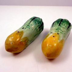 Vintage Veggie Green Yellow Squash Salt Pepper Shakers by ExtraVintage on Etsy