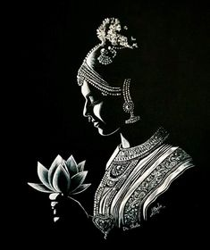 Colour of Beauty - Black and White. Dance Paintings, Indian Art Paintings, Madhubani Art, Madhubani Painting, Pencil Art Drawings, Art Sketches, Black Pen Sketches, Black And White Sketches, Drawing Art