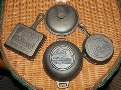 Old Mountain Cast Iron Set-Square skillet,Bean Pot with lid & round skillet