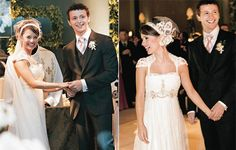 To walk down the aisle with her father Xororó with an instrumental song composed by Lucas, sung by a string quintet, Sandy wore Gucci shoes and a romantic off-white dress made with French lace , pearls and crystals created by Emannuelle Junqueira (who also signed the mother of the bride's dress, Noely). On her hair, a headband of lace ornamented with voilette, an arrangement of stylized butterflies and a delicate veil.