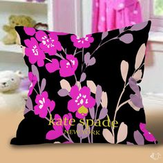Kate Spade NY Blossom Floral Pink Black Pillow cases cheap and best quality. *100% money back guarantee