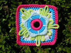 """Granny Square"" made with the sixth Paradise Flower from free pattern"