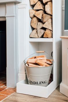 Kindling Wood And Log Store - Elle's Modern Country Sitting Room Cottage Living Rooms, Living Room Interior, Home Living Room, Living Room Decor, Modern Country, Country Style Homes, Country Living, Country Lounge, French Country